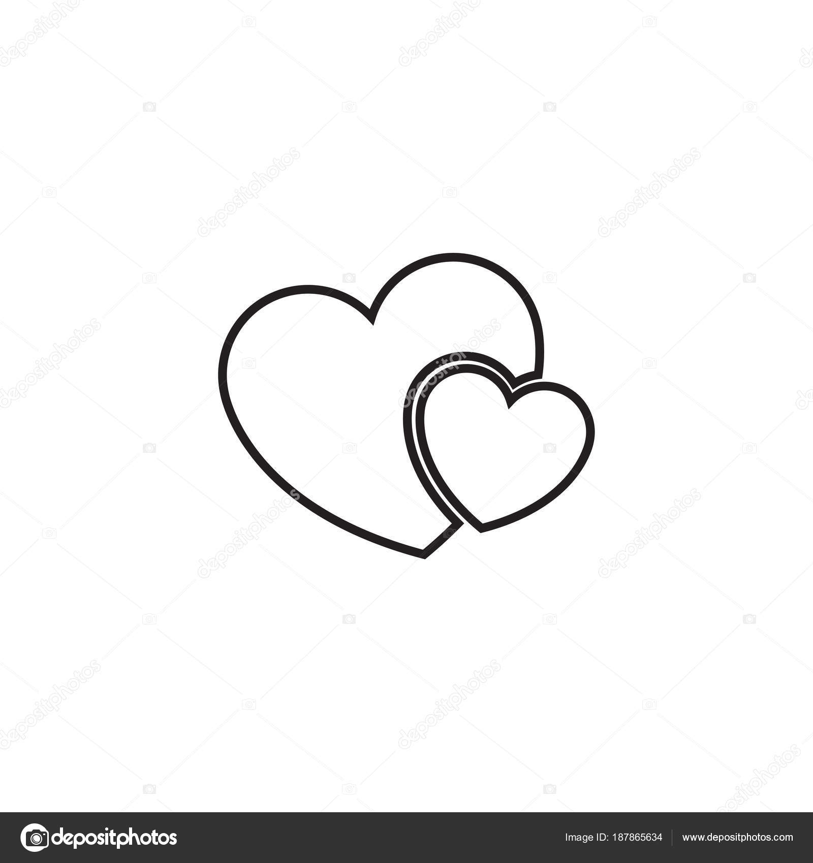two hearts line icon vector simple heart symbol or love sign rh depositphotos com Wedding Heart Illustrations Wedding Heart Silhouette