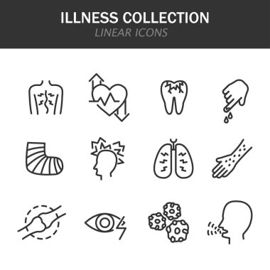 Illness collection linear icons in black on a white background icon