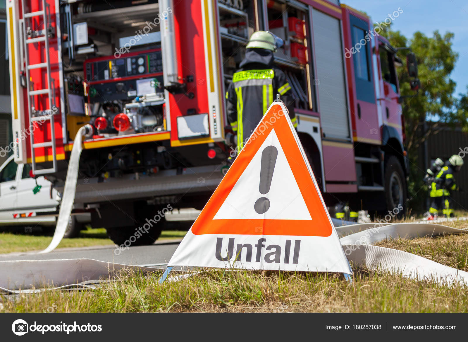 German Unfall Accident Sign Fire Truck — Stock Photo ...