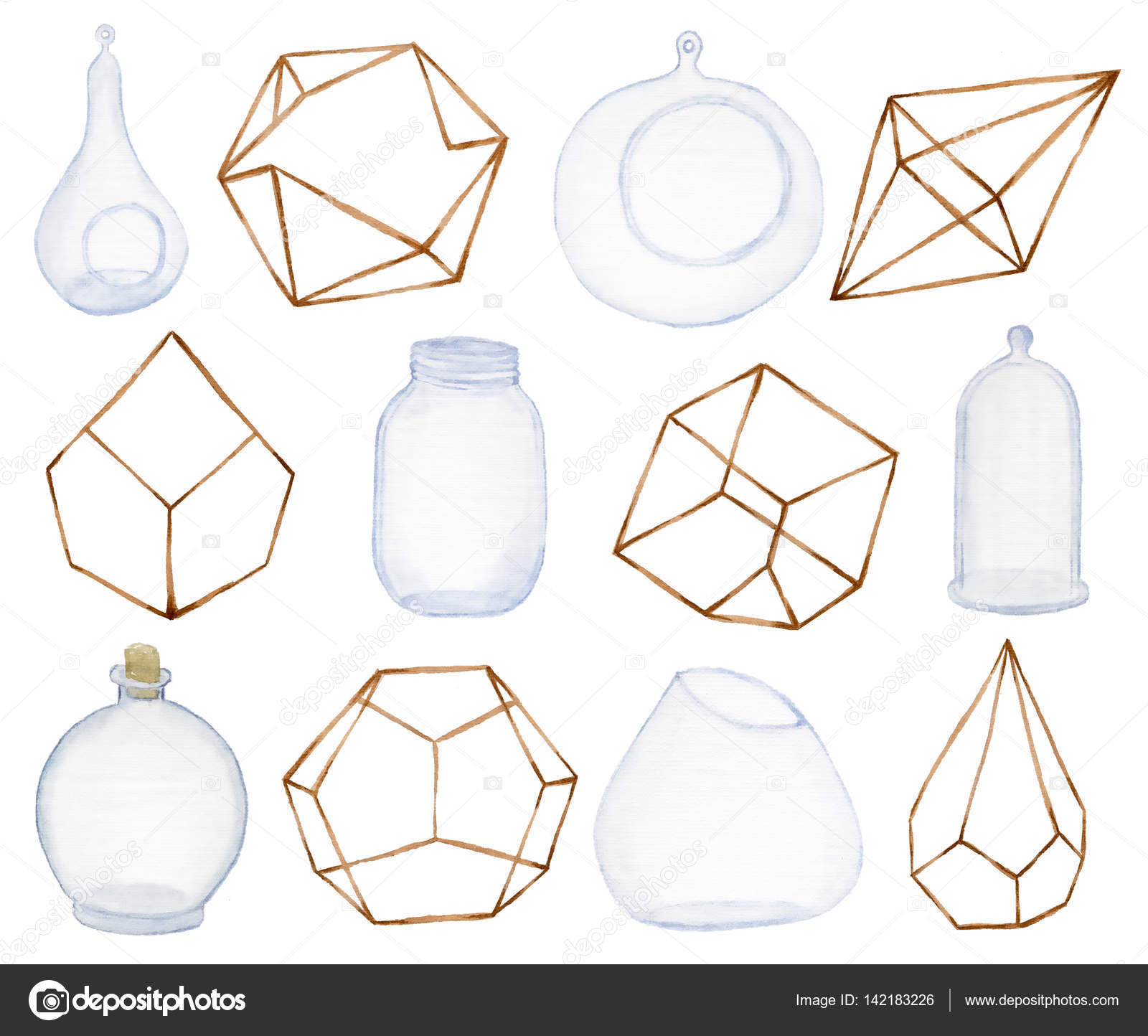 Geometrical And Glass Terrarium For Succulents And Cactus Doodle Pots And Glass Stock Photo Image By C Nereia 142183226