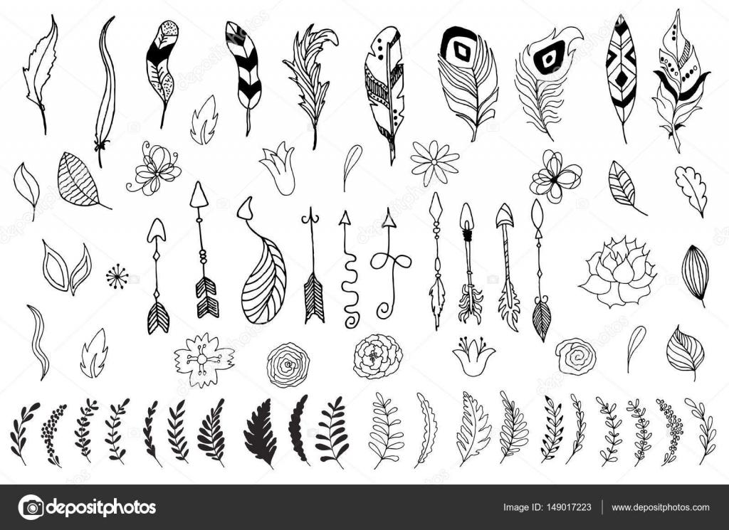 Conjunto de flechas, flores, hojas y plumas estilo indio nativo ...