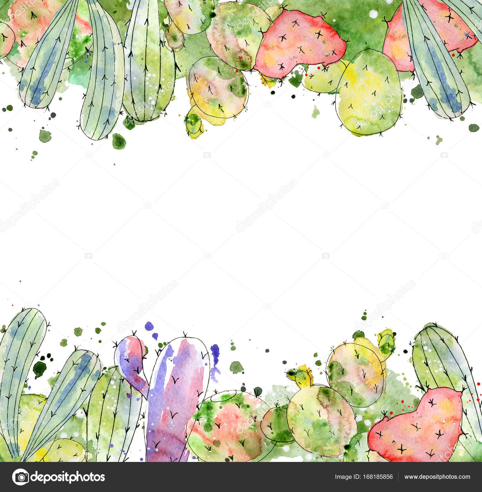 Tropical cactus arrangements, borders, frames watercolor cacti print ...