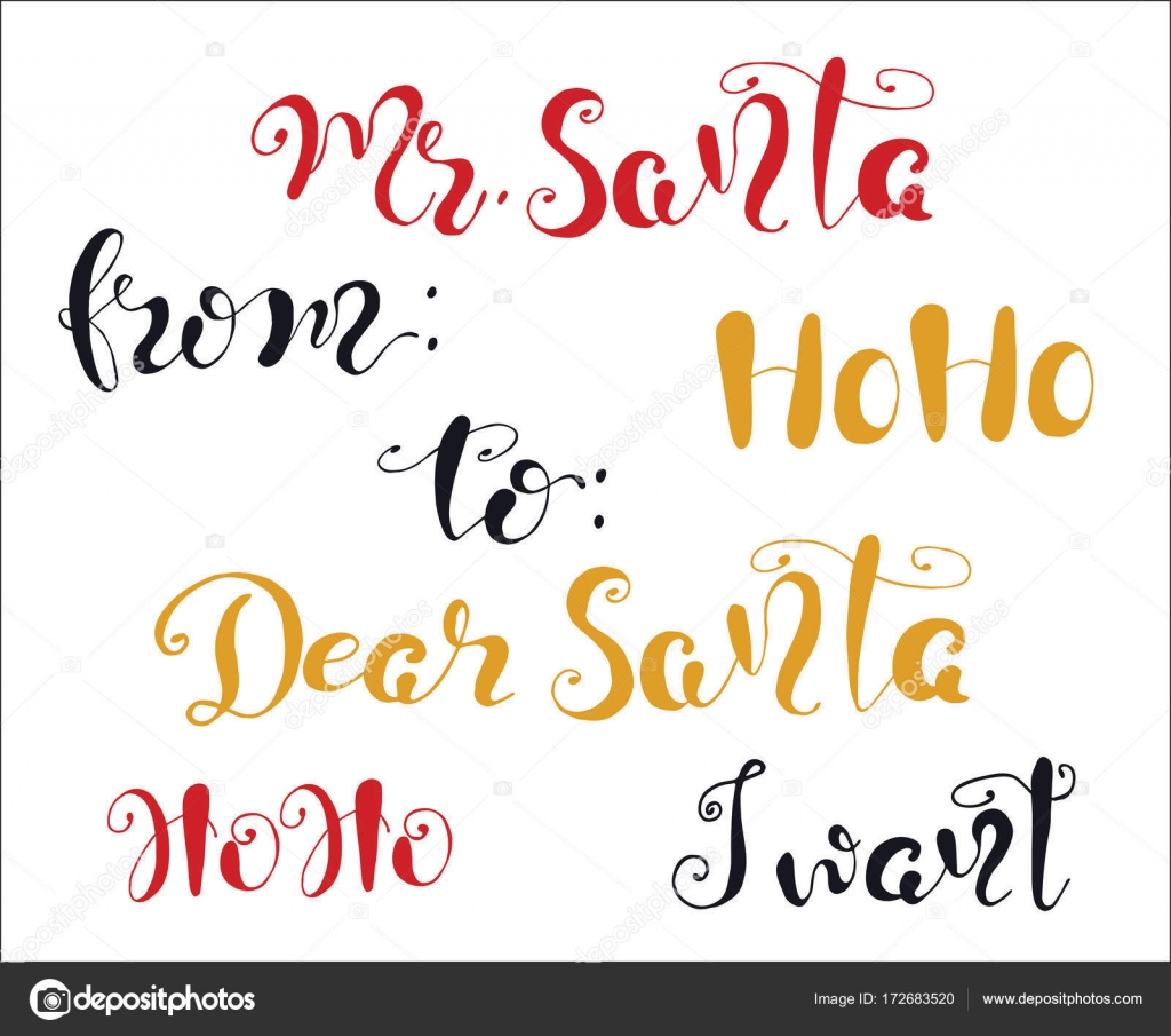 Frohe Weihnachten Zitat Schriftzug lieber Weihnachtsmann, Ho ho, ich ...