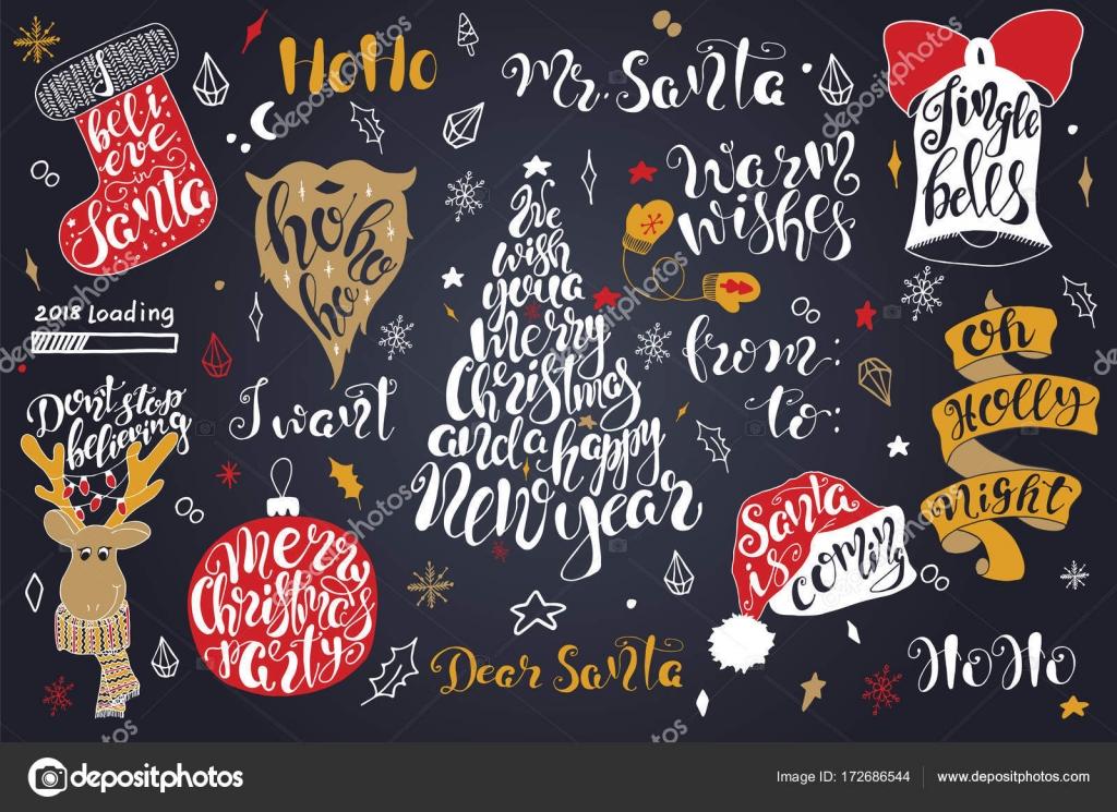 Felices Frases Navidad Set De Letras Feliz Año Nuevo 2018