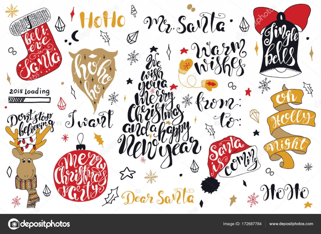 Merry Christmas quotes lettering set Happy New Year 2018 Typography ...
