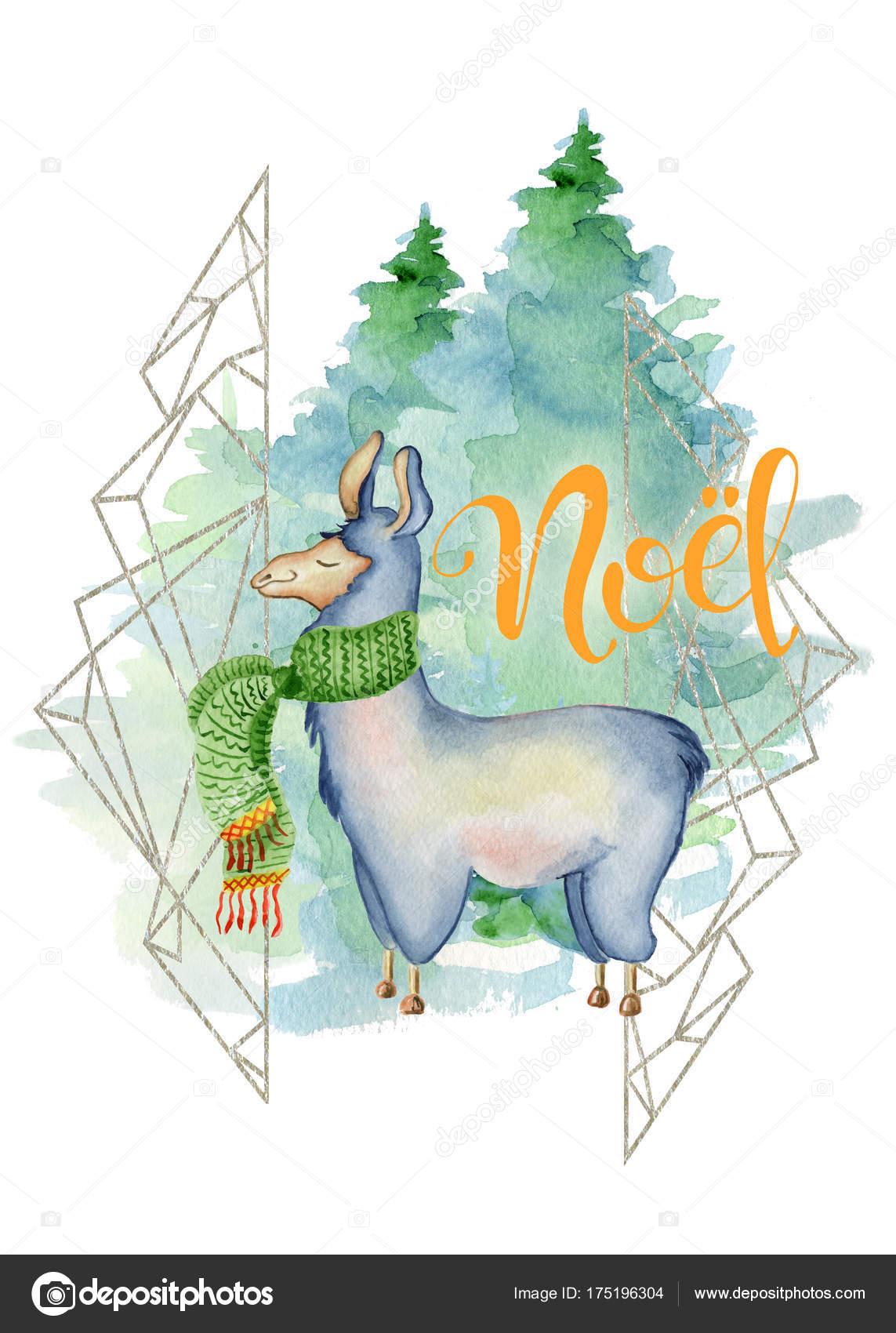 Roztomily Lama Zeleny Satek Akvarel Rukou Kreslene Vesele Vanocni