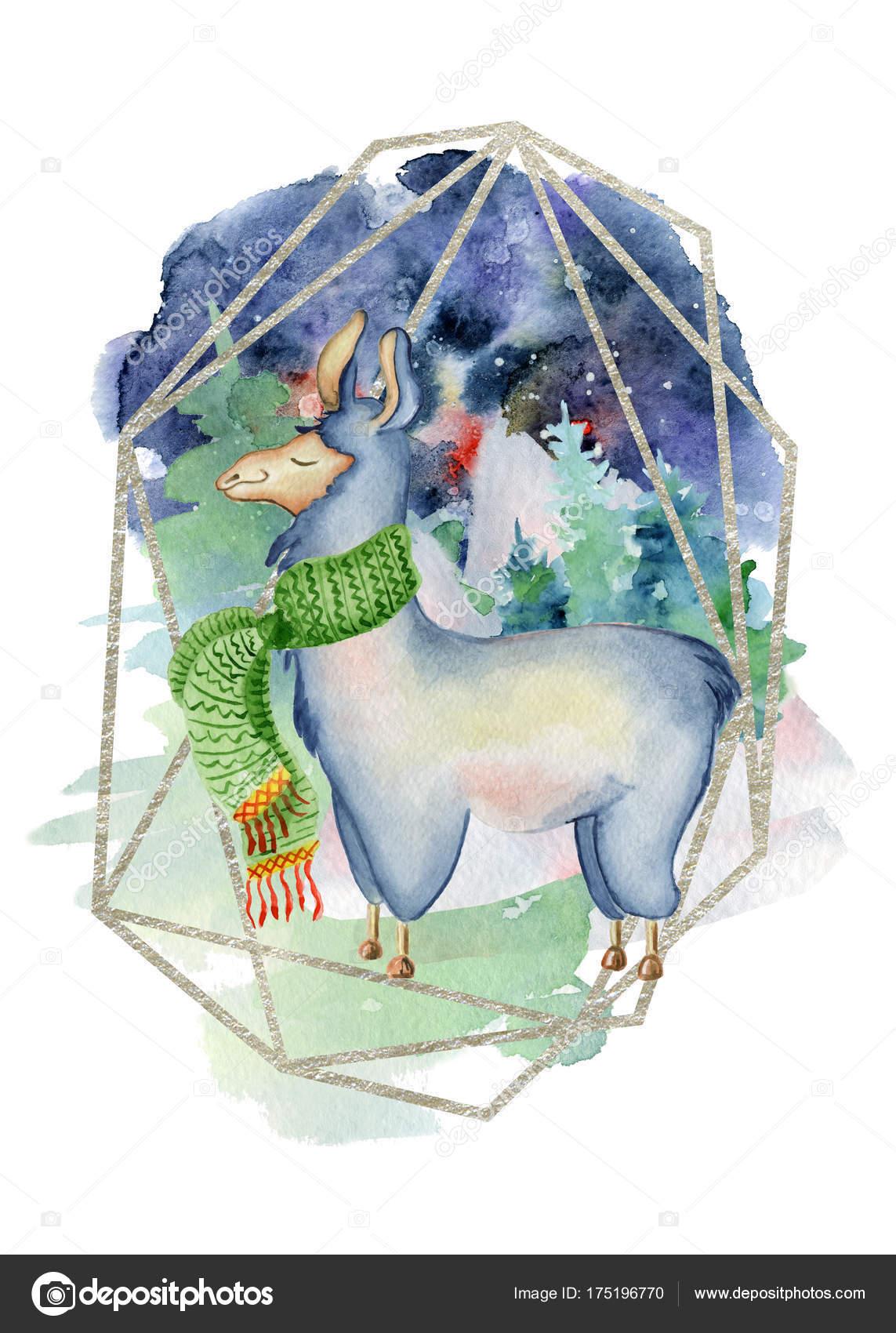 Roztomily Lama Zluta Sala Akvarel Rukou Kreslene Vesele Vanocni