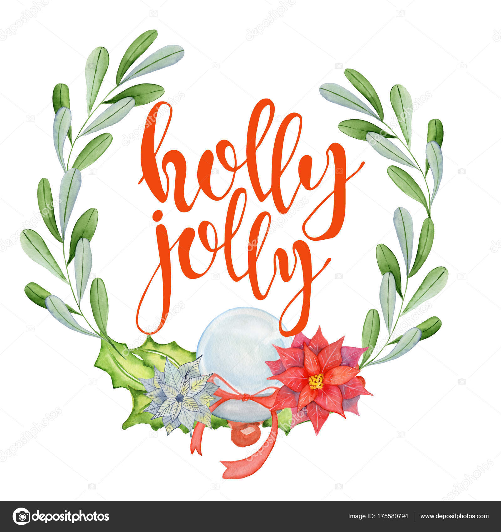merry christmas watercolor card with floral winter elements happy new year lettering quote holly jolly flower and branch wreath decoration