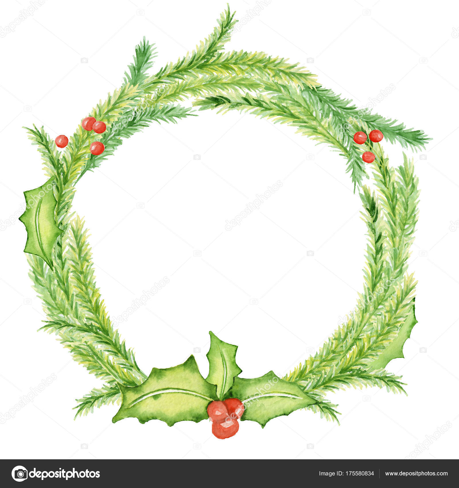Merry Christmas watercolor wreaths with floral winter elements ...