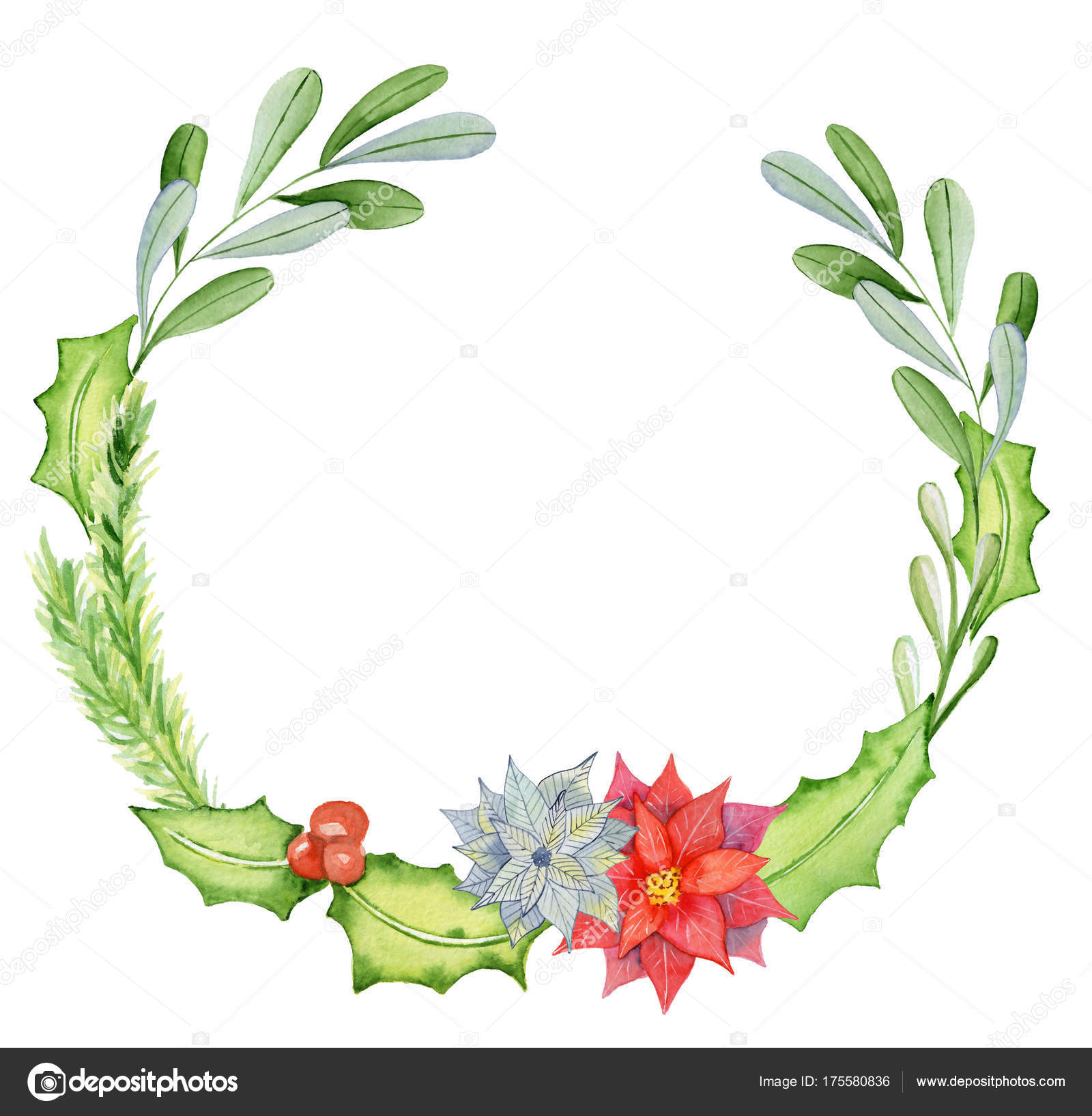 merry christmas watercolor wreaths with floral winter elements happy new year card posters