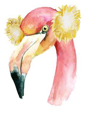 Christmas pink flamingo with winter decoration sheadphones