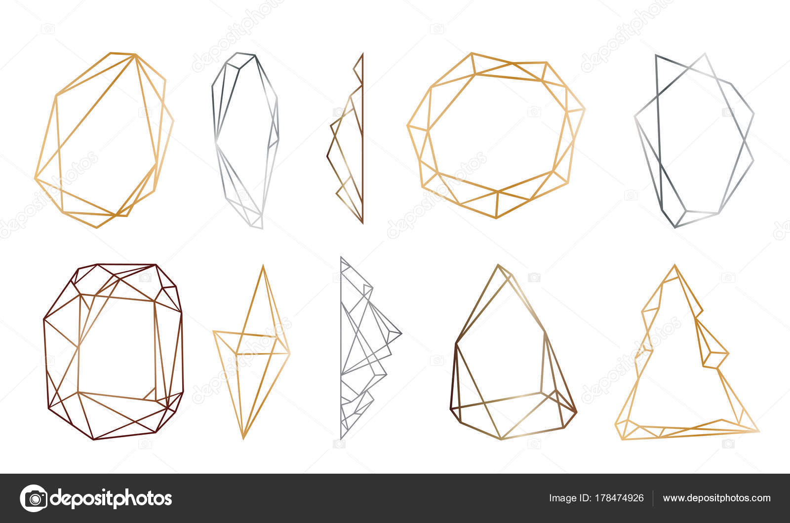 polygonal frames set. Gold, silver, black glitter triangles ...
