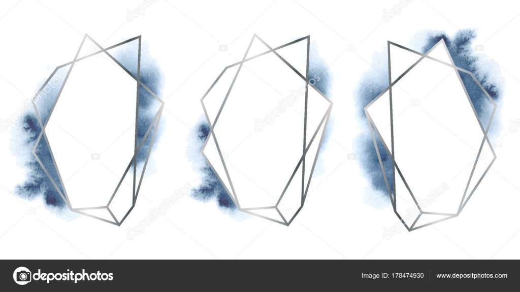 polygonal frames set. Silver glitter triangles, geometric shapes ...