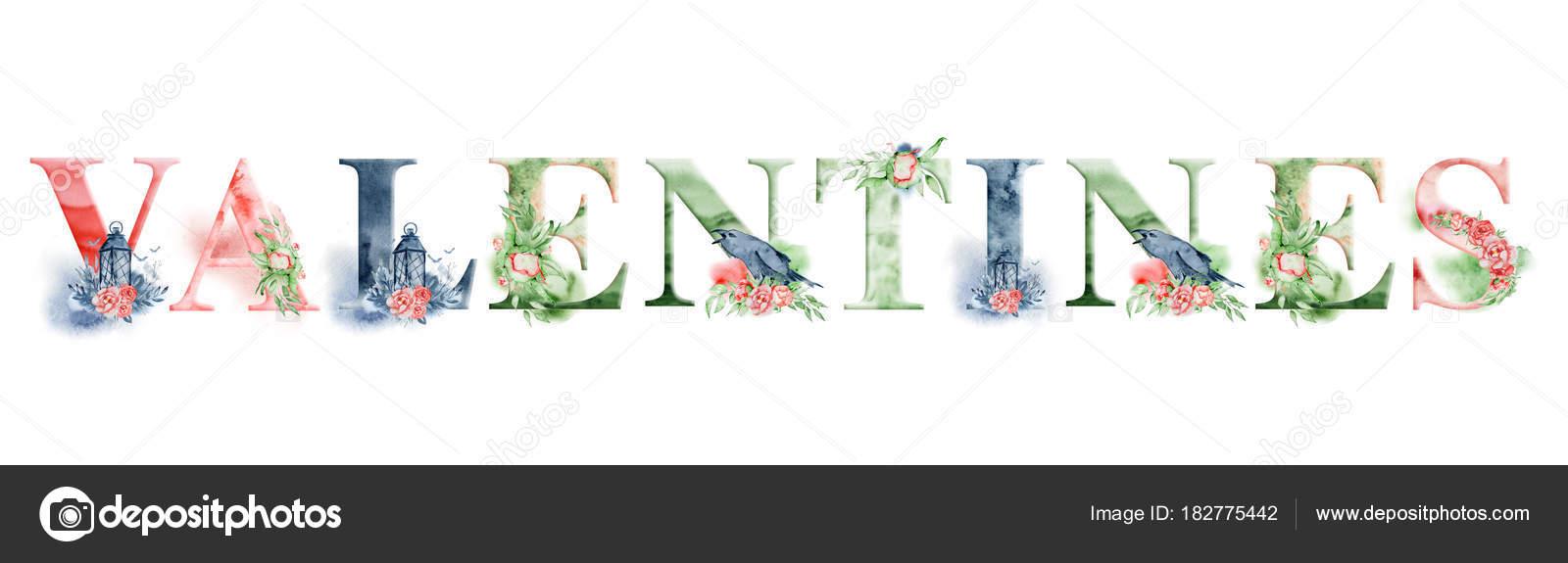 San Valentín diseño palabra acuarela con Ramos de flores y corona ...