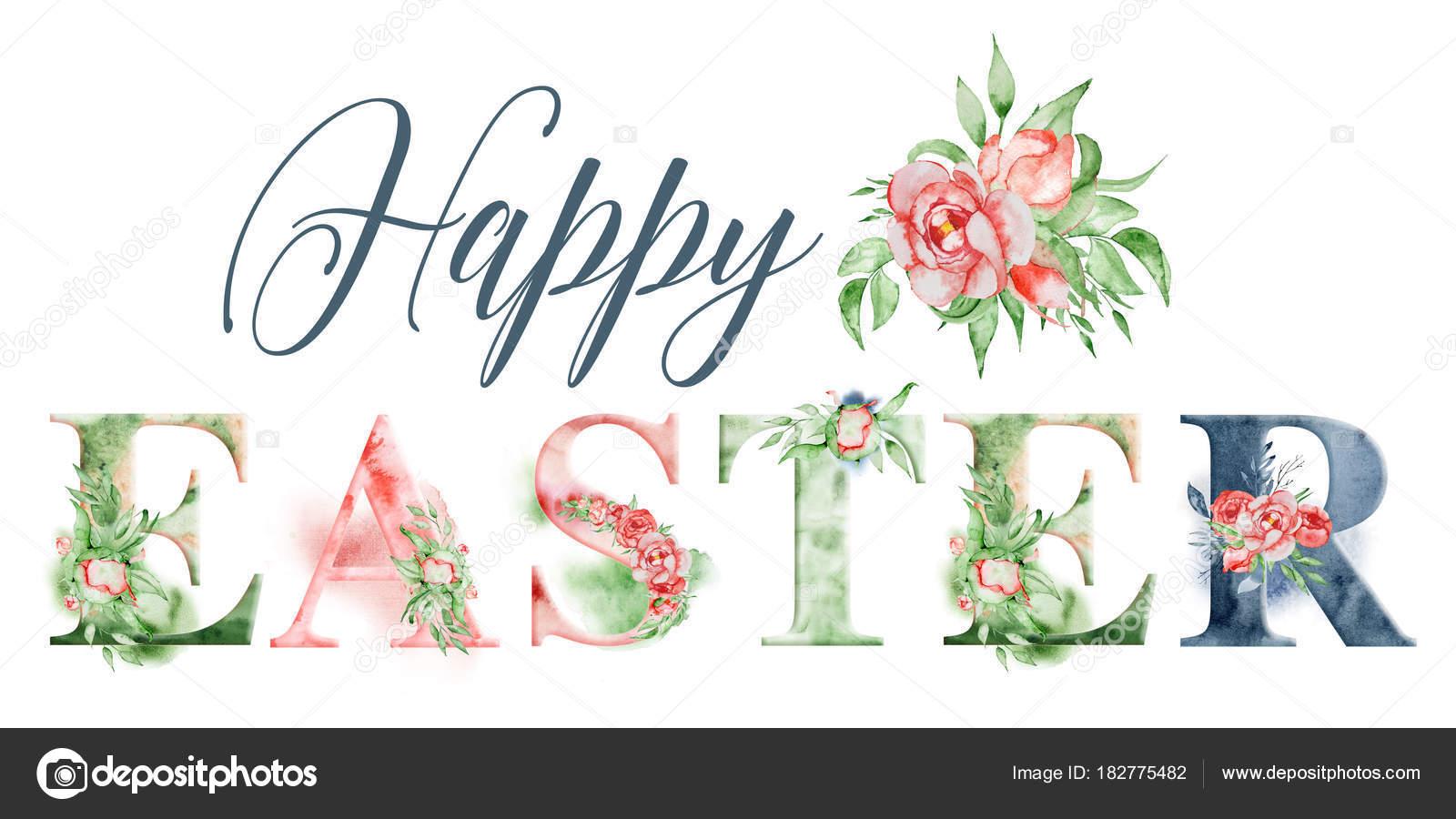 Diseño de palabra acuarela de feliz Pascua con Ramos de flores y ...