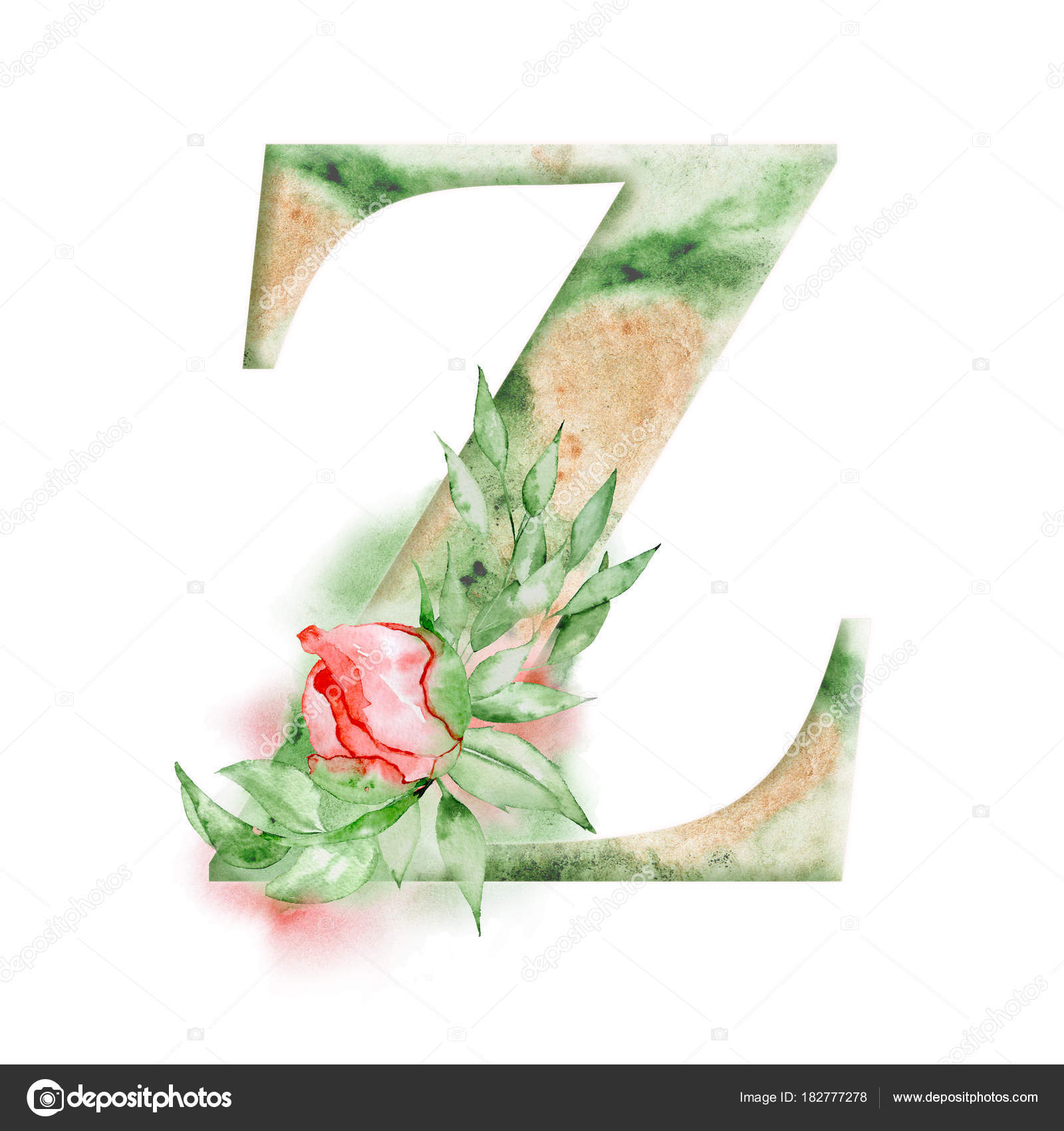 Floral watercolor alphabet  Monogram initial letter Z design