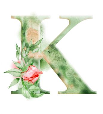 Floral watercolor alphabet. Monogram initial letter K design with hand drawn peony flower