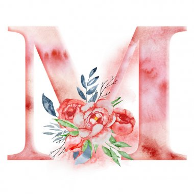 Floral watercolor alphabet. Monogram initial letter M design with hand drawn peony flower