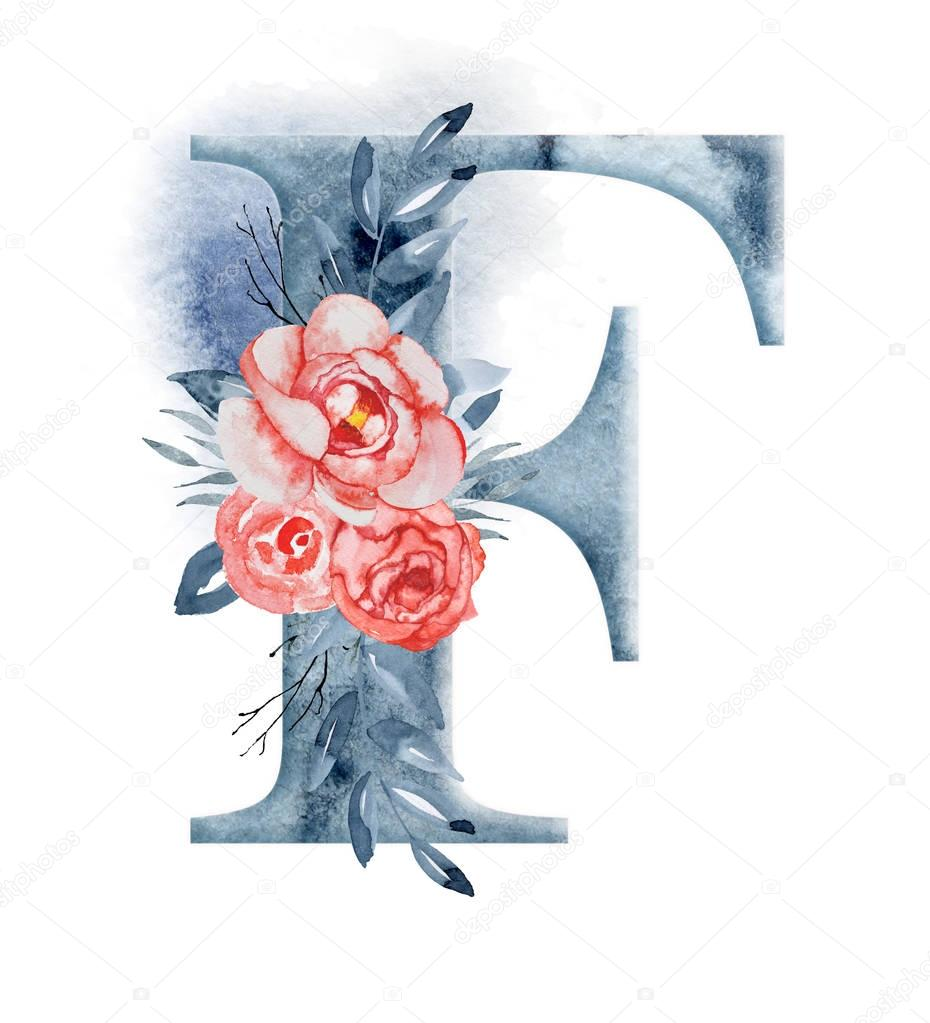 Floral watercolor alphabet. Monogram initial letter F design with hand drawn peony flower