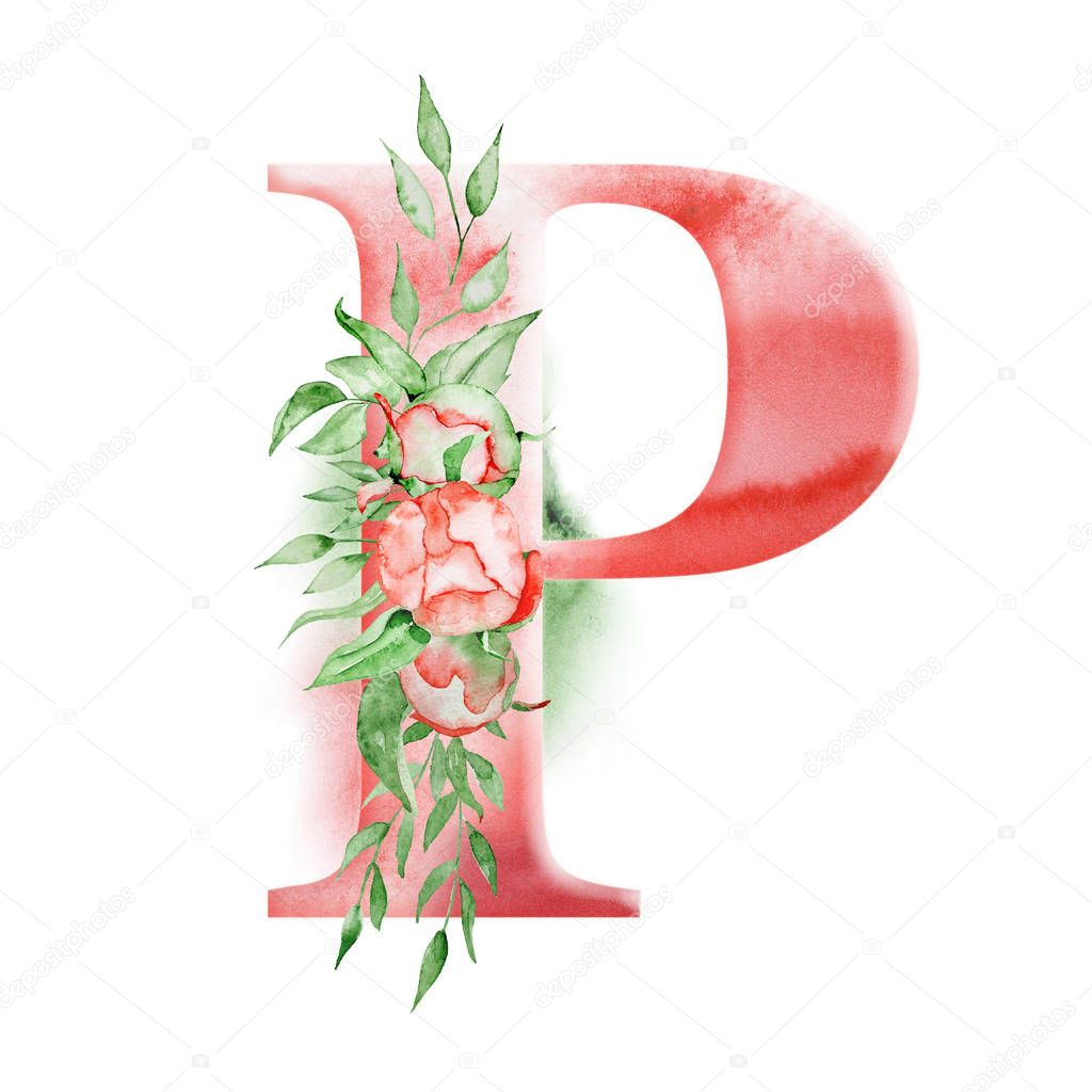 Floral watercolor alphabet. Monogram initial letter P design with hand drawn peony flower