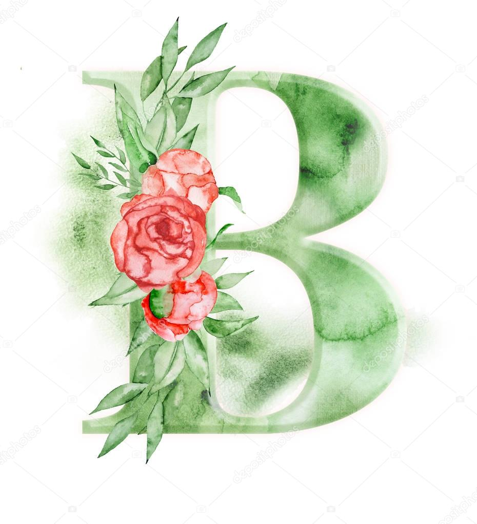 Floral watercolor alphabet. Monogram initial letter B design with hand drawn peony flower