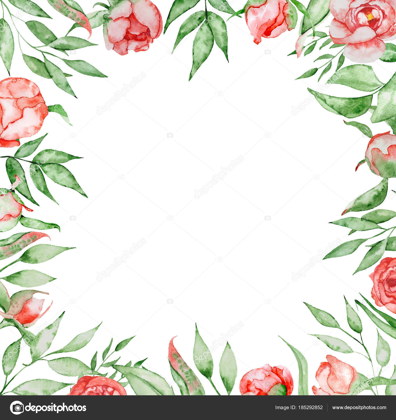 Romantic frame with flowers Card template. Watercolor peonies with ...