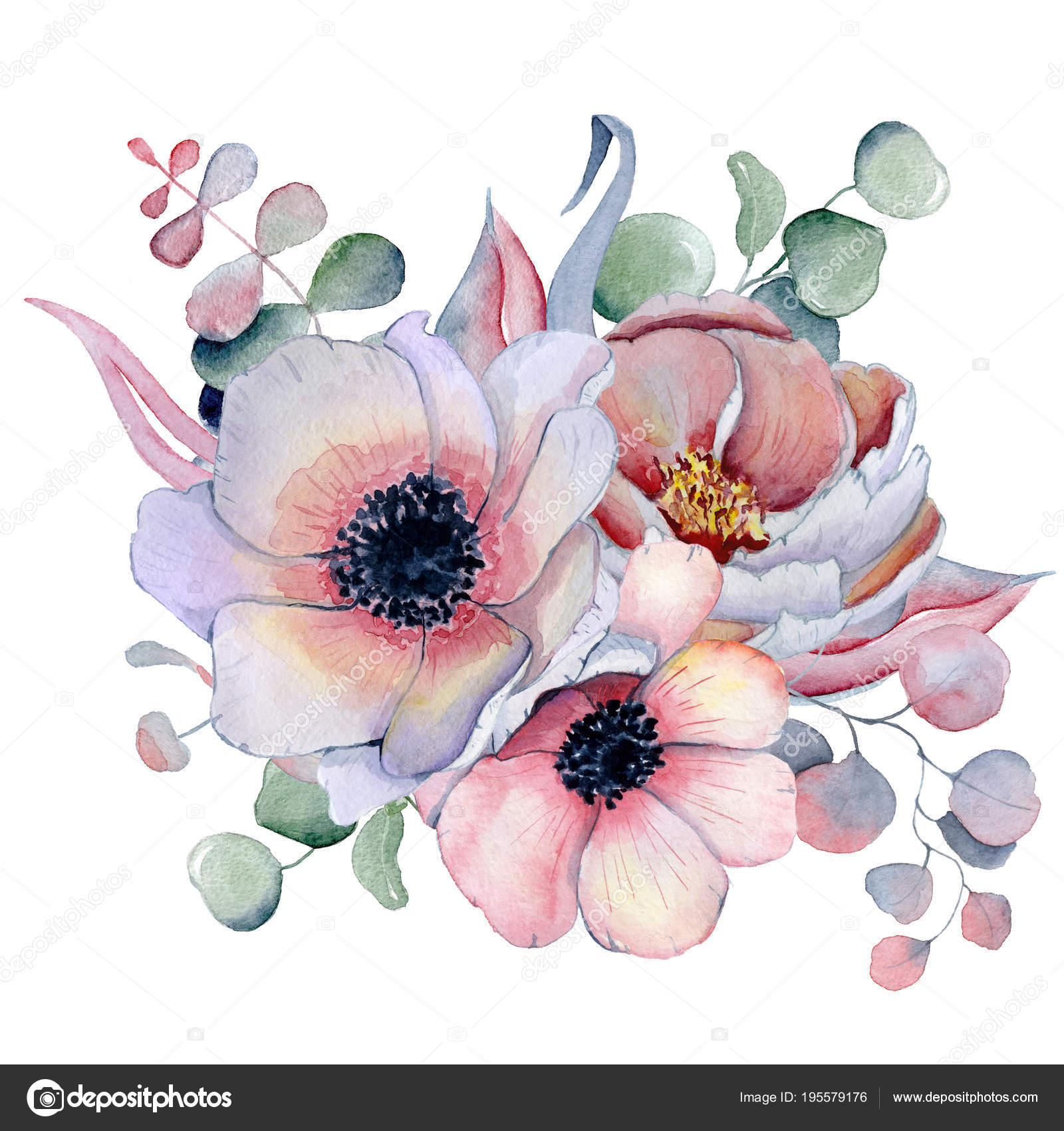 Watercolor Bouquet With Anemone Peonies Flowers And Herbs Stock Photo Image By C Nereia 195579176