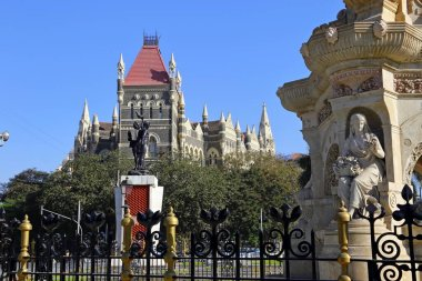 MUMBAI, INDIA - February 7, 2019: Flora Fountain, at the Hutatma Chowk Martyr`s Square, is an ornamentally sculpted architectural heritage monument