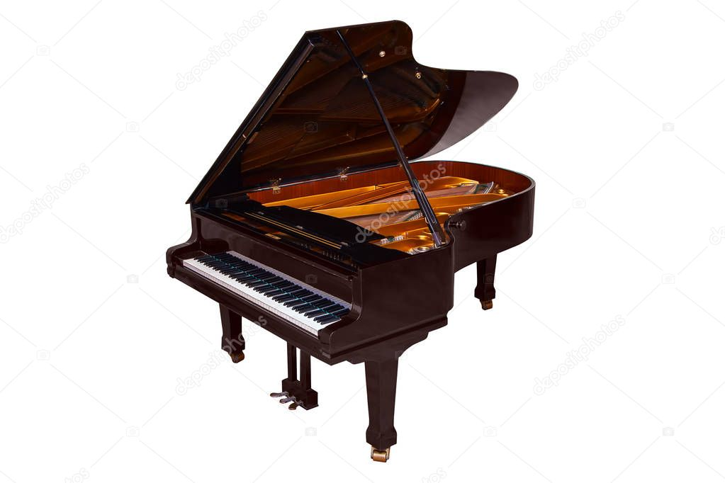 black grand piano isolated on white background � stock
