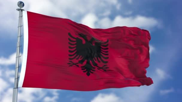 Albania Flag in a Blue Sky
