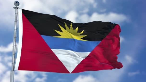 Antigua and Barbuda Flag in a Blue Sky