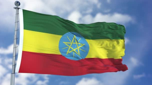 Ethiopia Flag in a Blue Sky
