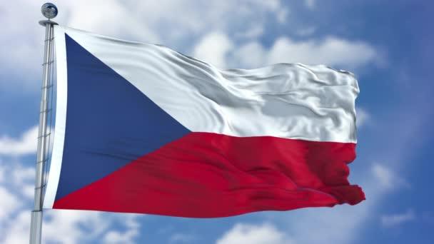 Vlajka Česká republika v modré obloze