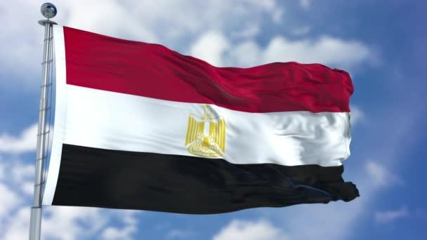 Vlajka Egypta v modré obloze