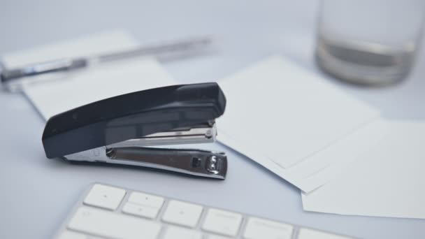 Using Stapler, Stapling Paper, Struggling with Office Supply, Close Up Shot