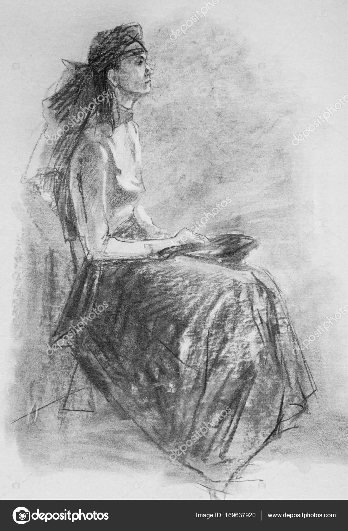 Fotos A Carboncillo Lapiz De Dibujo Ilustracion Con Mujer En Ropa