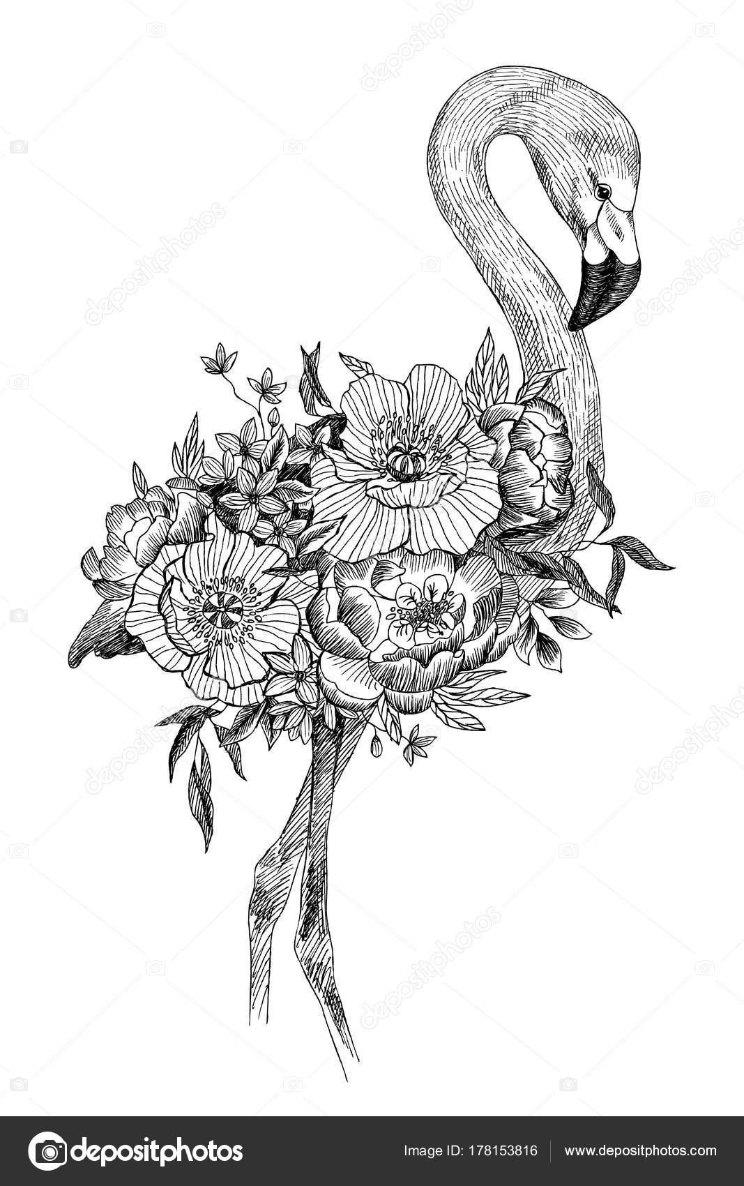 Vecteur dessin oiseau flamant rose avec fleurs épanouies ...