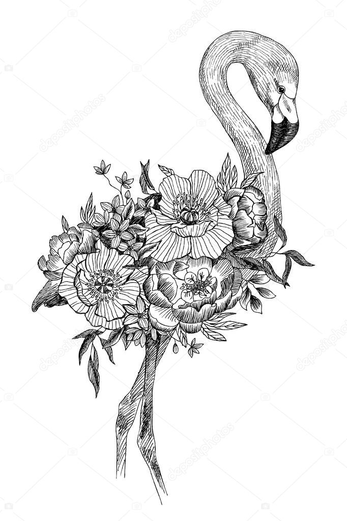 Vecteur Dessin Oiseau Flamant Rose Avec Fleurs 233 Panouies