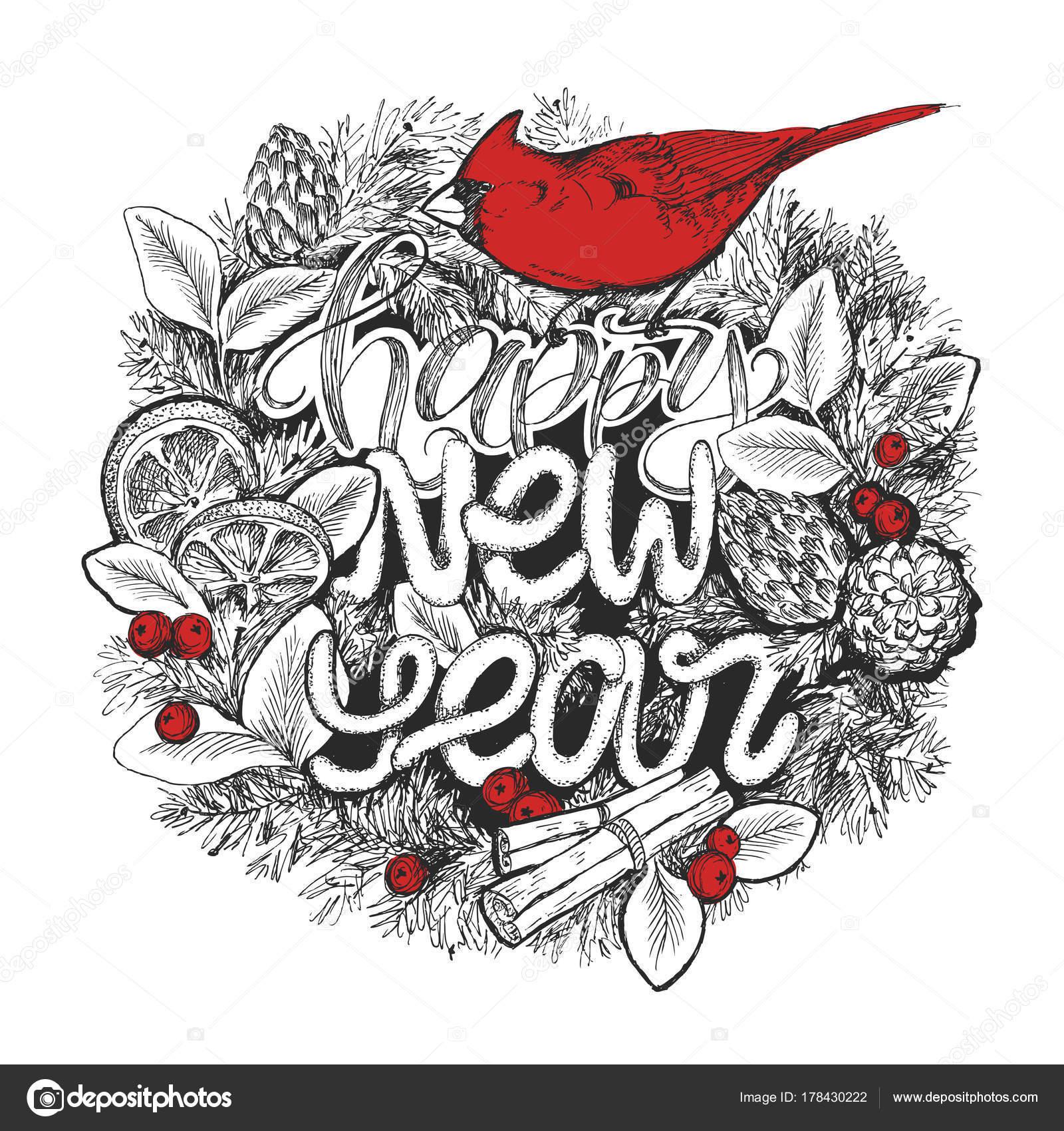Neue Jahr typografische Poster. Kranz mit Schriftzug Happy New Year ...