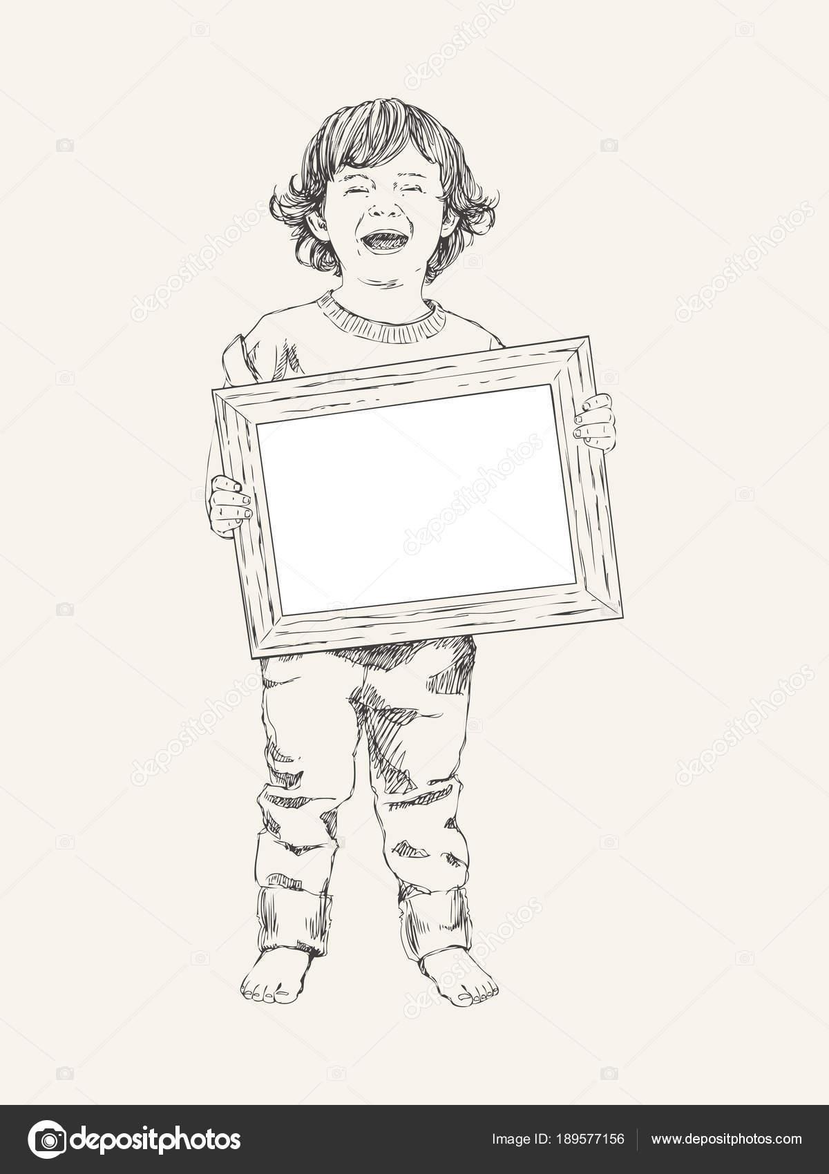 vektor skizze von gl cklichen kindern junge mit rahmen. Black Bedroom Furniture Sets. Home Design Ideas