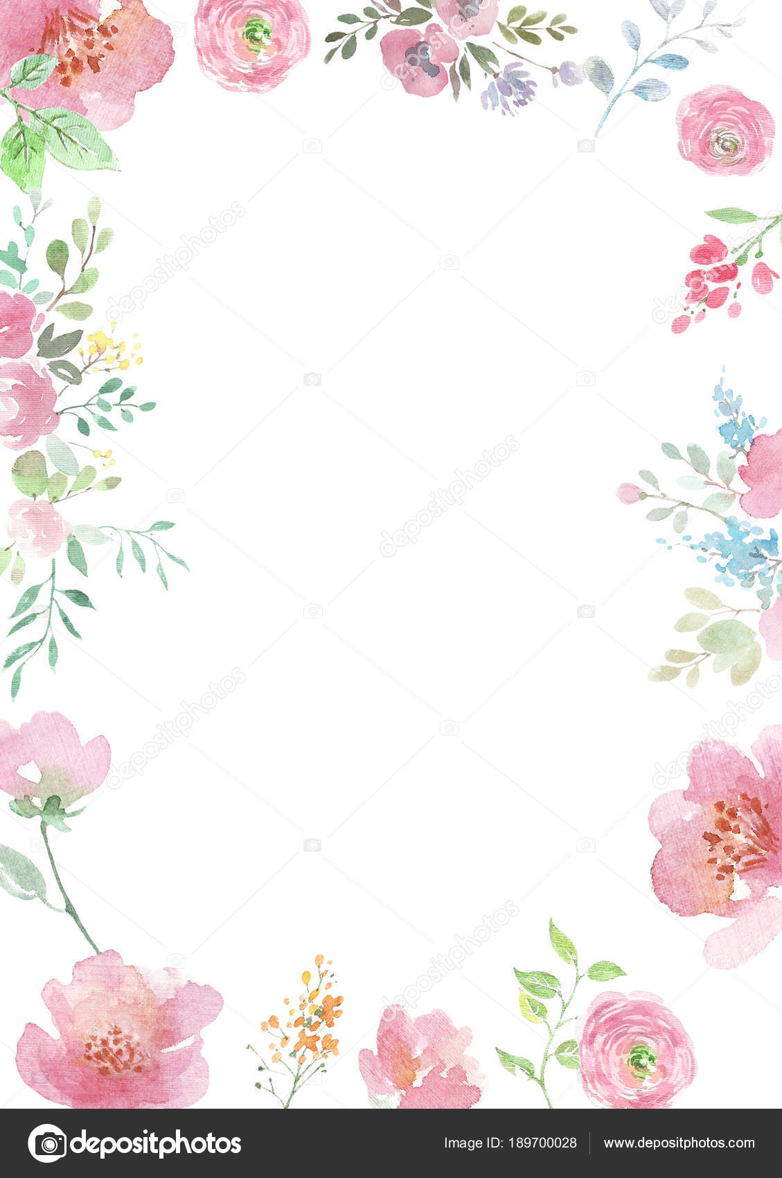 Watercolor flowers background with floral ornaments wedding background handmade figure - Floral background ...