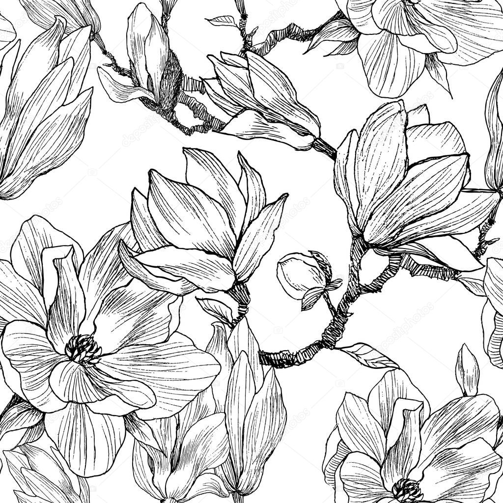 Ink, Pencil, The Leaves And Flowers Of Magnolia. Seamless