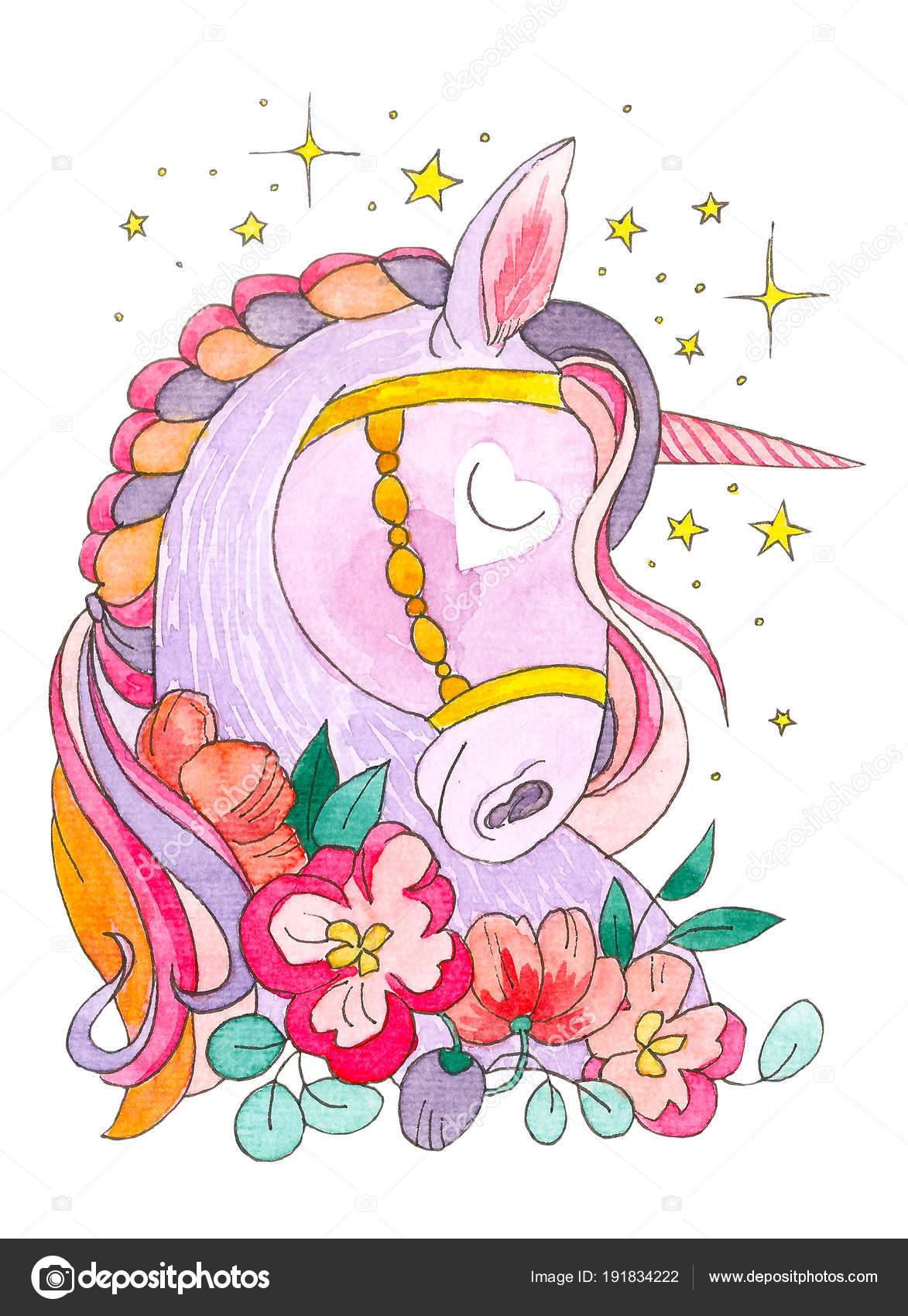 Tek Boynuzlu At Hayalini Yıldız Ve çiçekler Etrafında Büyülü