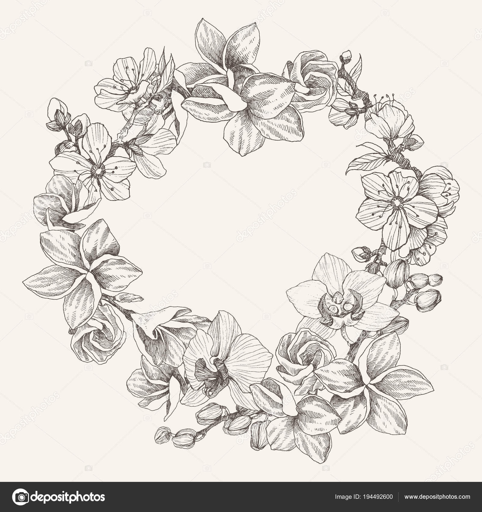 a2fb9d4ba Spting flowers drawing. Illustration and clip art on white backgrounds.  Idea for business visit card, typography, logo. — Vector by  ledepict.gmail.com