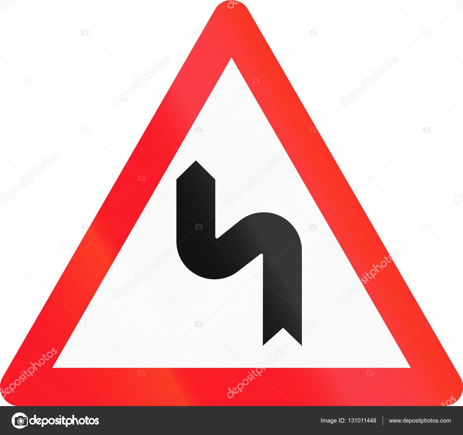 a011a076274f Señal de advertencia utilizado en Suiza - curva doble