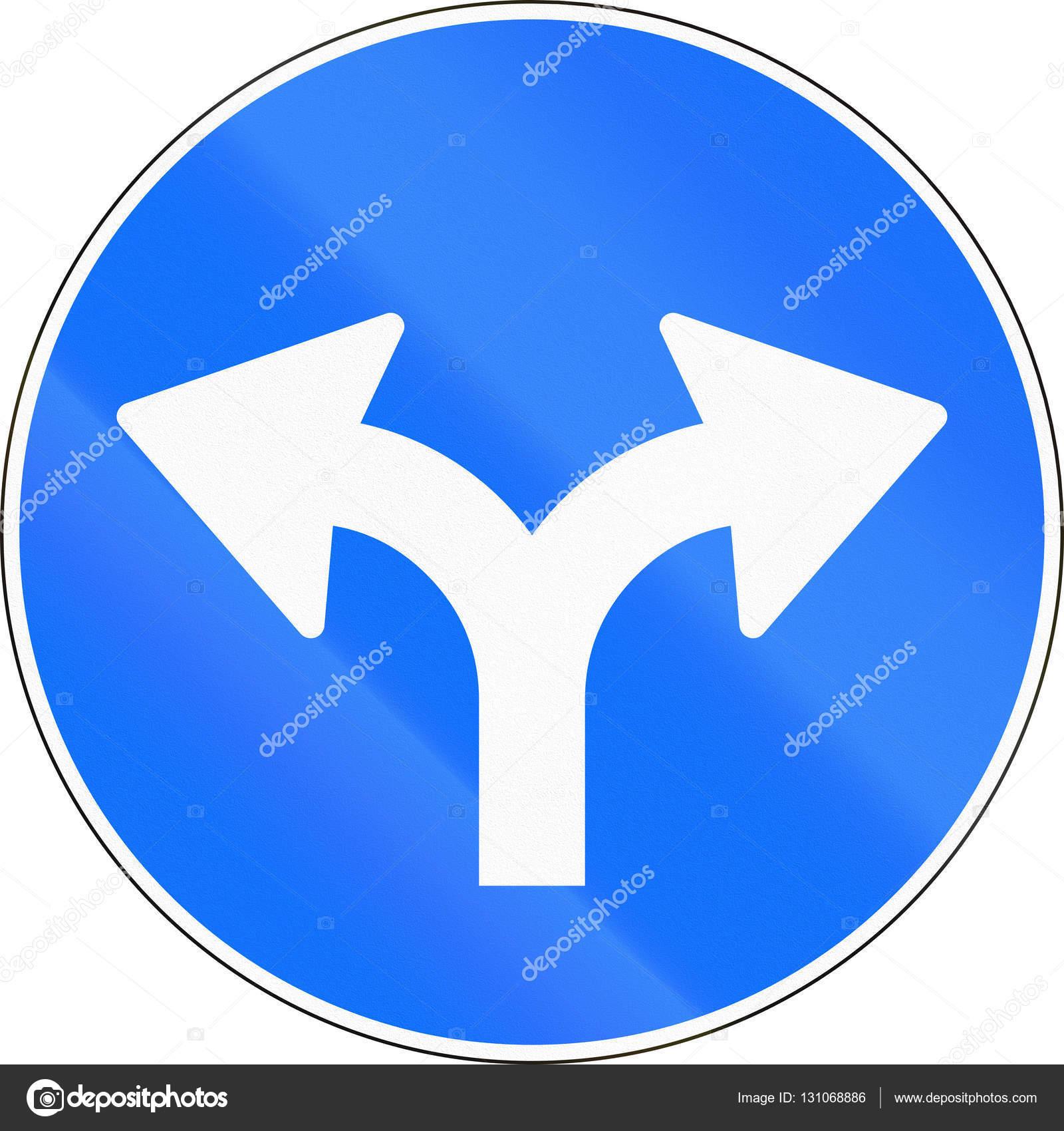 a74094478736 Señal de tráfico utilizado en Suiza - girar a la derecha o izquierda — Foto  de