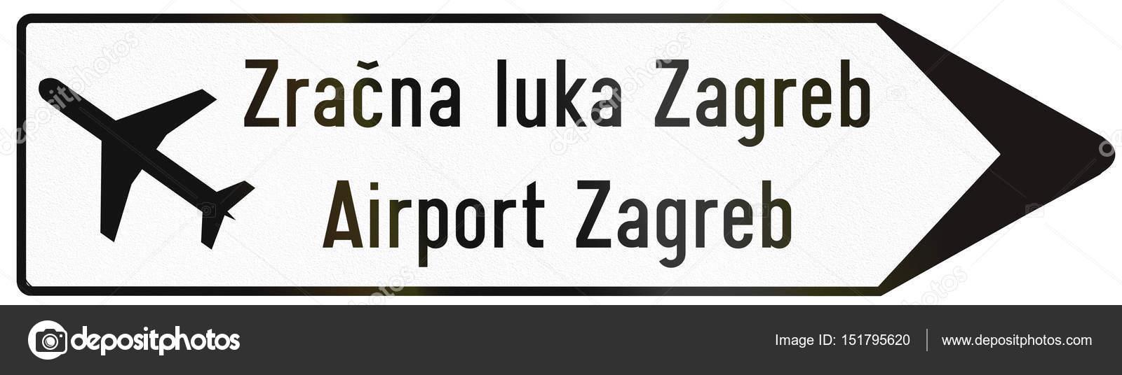 Wegweiser Typ Richtung Verkehrszeichen Verwendet In Kroatien Mit