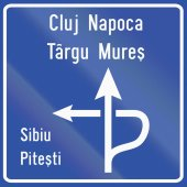 Diagram type direction sign used in Romania