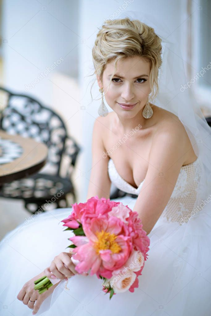 Beauty bride with bouquet