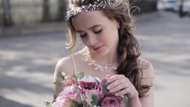 beautiful young bride in gorgeous wedding dress